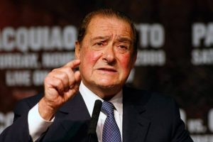 Bob Arum promoting at a Pacquiao press conference
