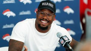 Von Miller at a Denver Bronco press conference