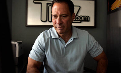 Harvey Levin Net Worth looks at his computer screen in his office at TMZ.com in Glendale.