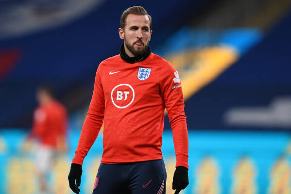 Harry Kane of England looks on during the UEFA Nations League group stage match between England and Iceland at Wembley Stadium on November 18, 2020 in London, England. Football Stadiums around Europe remain empty due to the Coronavirus Pandemic as Government social distancing laws prohibit fans inside venues resulting in fixtures being played behind closed doors.
